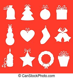 Christmas gifts and labels set on red background