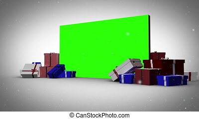 Christmas gifts animation with a green sreen on the...