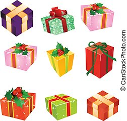 Christmas gifts, colored boxes with ribbons, cartoon on white background,