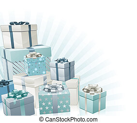 Christmas gifts silver blue corner background element.