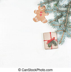 Christmas gifts, fir tree branches, xmas holiday decorations, festive symbols on white. Card Merry Christmas and Happy New Year.
