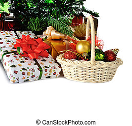 Christmas gifts - gifts under Christmas tree, isolated on...