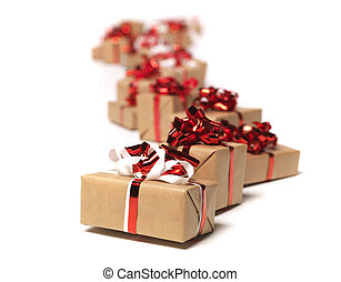 Christmas gifts in a row