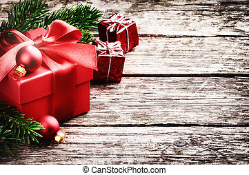 Christmas gifts in festive setting