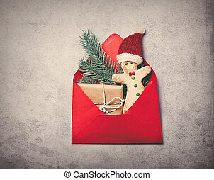 Christmas gifts in red envelope