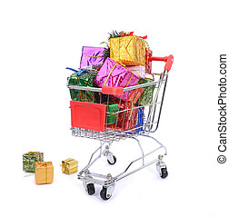 Christmas gifts in shopping cart