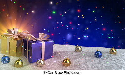 Christmas gifts in snow on blue bokeh background. Seamless loop. 3D render.
