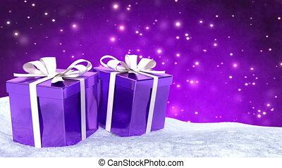 Christmas gifts in snow on bokeh purple background. Seamless loop. 3D render.