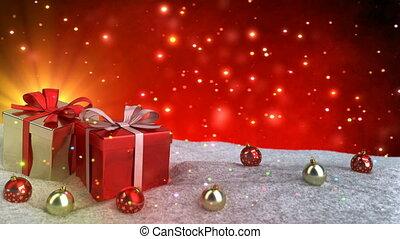 Christmas gifts in snow on red bokeh background. Seamless loop. 3D render.