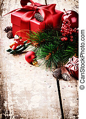 Christmas gifts in vintage setting