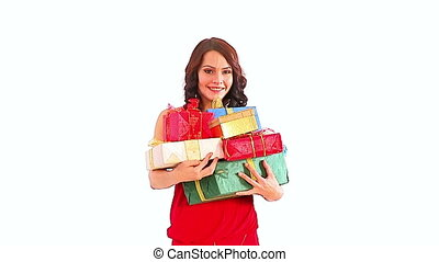Christmas gifts in woman hands . Xmas sale for shopping...