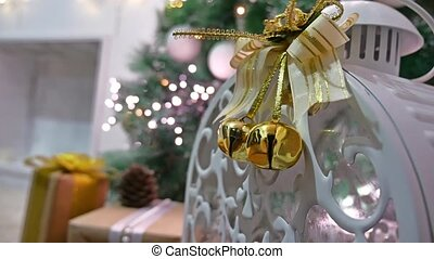 Christmas gifts interior tree and room New Year toys blinking lights and fireplace