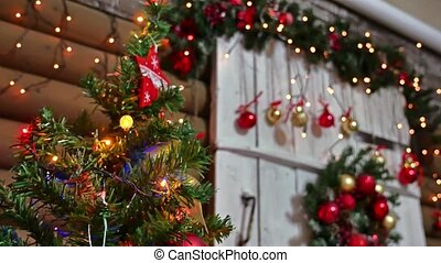 Christmas gifts interior tree New Year and room toys blinking lights and fireplace