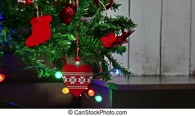 Christmas gifts interior tree New Year and toys room blinking lights and fireplace