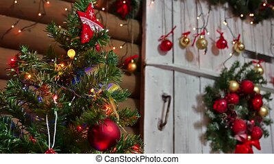 Christmas gifts interior tree room New Year and toys blinking lights and fireplace