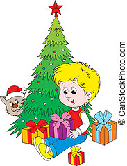 Christmas gifts - Little boy with gift boxes near a...