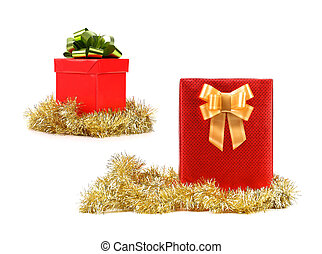 Christmas gifts of red cover with golden ribbon.