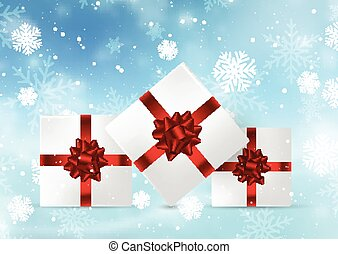christmas gifts on snowy background 1709