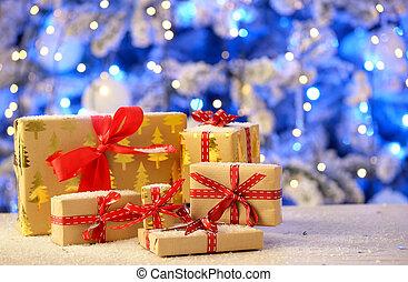 Christmas gifts on table