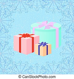 Christmas gifts on the snow background in retro style, vector il