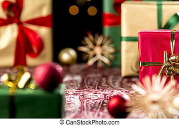Christmas Gifts Placed on a Festive Cloth