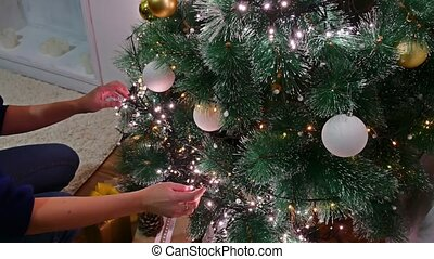 Christmas gifts room interior tree New Year and toys blinking lights and fireplace