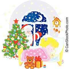 Christmas gifts - Santa Claus brought his gifts to a little ...