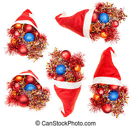 set of red santa hats with xmas decorations