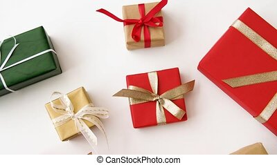 christmas gifts set on white background - christmas and...