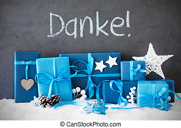 Christmas Gifts, Snow, Danke Means Thank You