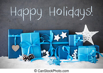 Christmas Gifts, Snow, Text Happy Holidays