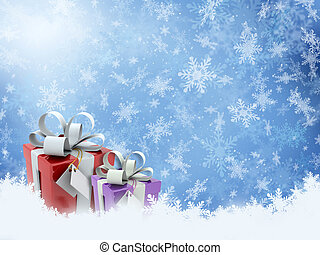 Christmas gifts on snowflake background