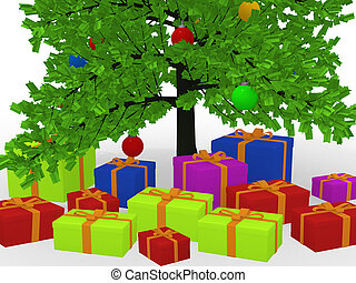 Christmas gifts under decorated Christmas tree