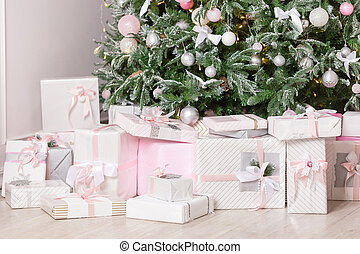 Christmas Gifts under the tree. Concept New Year celebration background.