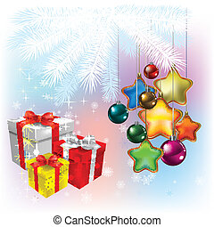 Christmas gifts with decorations on white
