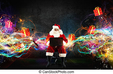Christmas gifts with fast internet - Santa Claus with a...