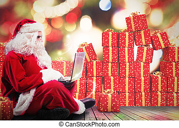 Christmas gifts with internet - Santa Claus with a laptop...
