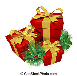 Christmas gifts with pine holly showing red presents and ...
