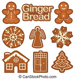 Christmas ginger bread cookie colorful bright set. New year...
