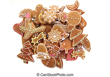 christmas ginger bread isolated on the white background