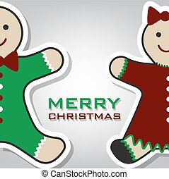 Christmas gingerbread card, vector