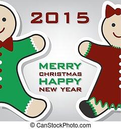 Christmas gingerbread card, vector