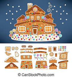 Christmas gingerbread cookie house constructor icons. Vector...