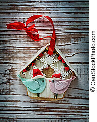 Christmas gingerbread cookie on vintage wooden board
