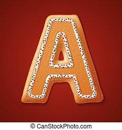 Christmas gingerbread cookies alphabet. Vector illustration.