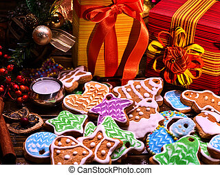 Christmas gingerbread cookies and gift box for family.