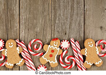 Christmas gingerbread cookies and peppermints border -...