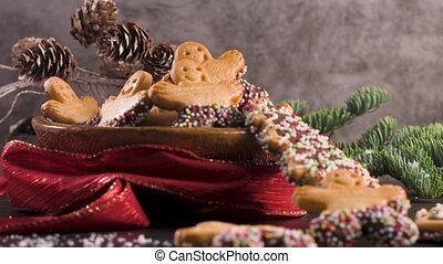 Christmas gingerbread cookies - Christmas holiday background...