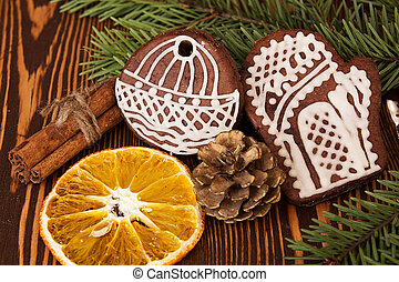 Christmas Garland Of Fir Branches And Dried Orange Slices Images And