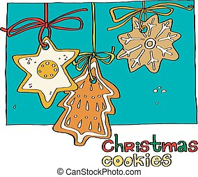 illustration of a Christmas gingerbread drawn by hand. template cards, invitations, greetings or menu.